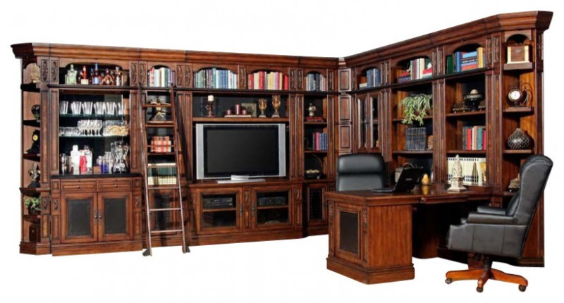 large L entertainment cabinet for TV books and ornaments with chair and table