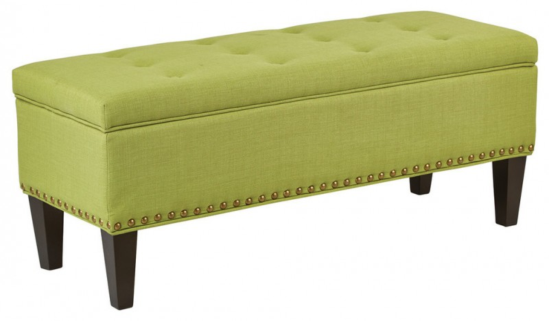 leafy green simple storage bench with flip top