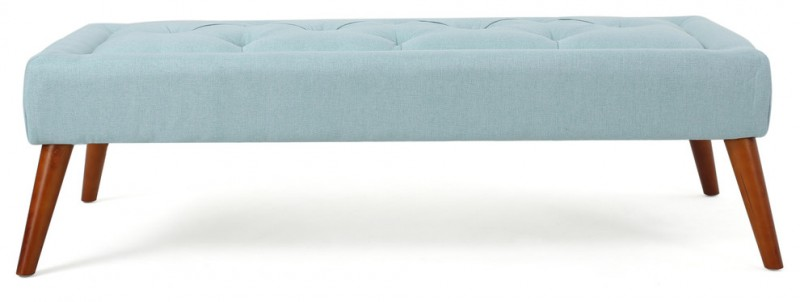 light blue ottoman for coffee table with bwon legs