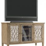 Light Brown Wooden TV Console With Carvings