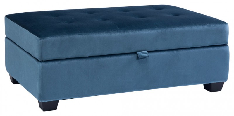 long square blue velvet ottoman with storage