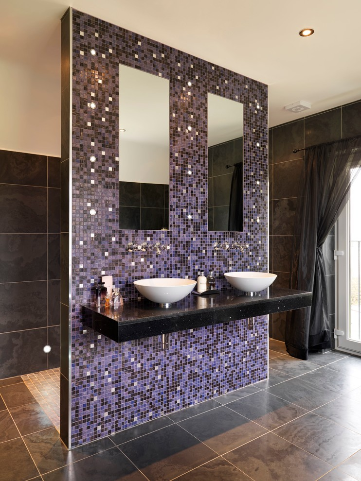 master bathroom layouts basins faucet big floor tile ceiling lamp white ceiling curtain mirror
