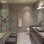 Master Bathroom Layouts Faucet Sink Seating Cabinet Big Mirror Ceiling Lamp Towel Rack Glass Door