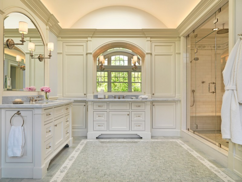 master bathroom layouts small floor tile glass door cabinet drawer faucet sink window towel rack mirror bathrobe bathroom lighting