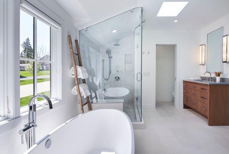 master bathroom layouts white bathtub cabinet drawer faucet sink mirror ladder big window glass door