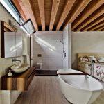 Master Bathroom Layouts Wood Floor Bed Wooden Ceiling Faucet Sink Mirror Window Towel Rack Toilet Bathtub