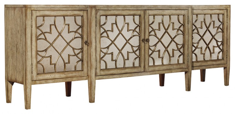 mediterranean light brown wooden TV console tables with pretty carvings