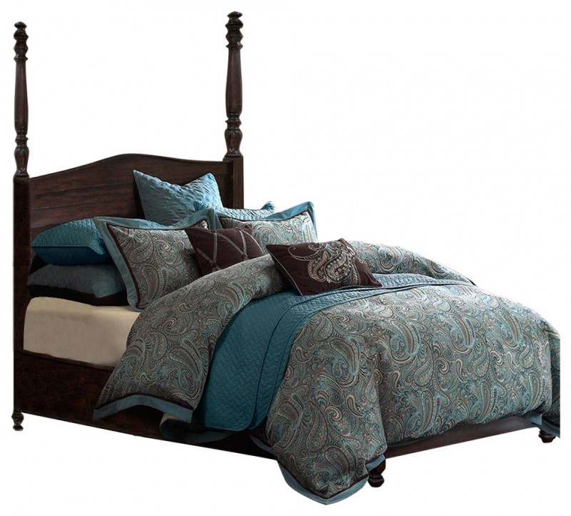 mediterranean teal and grey brown bedding with comforter and teal pillows