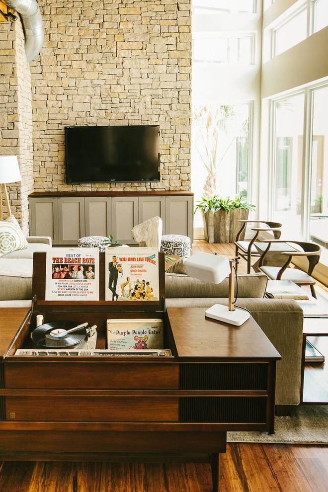 midcentury simple deep brown vinyl shelf table and storage