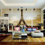 Minimalist Lounge Sofa With Couch White Brown Strips Carpet Eifel Wallpaper Idea Hardwood Flooring Minibar In White