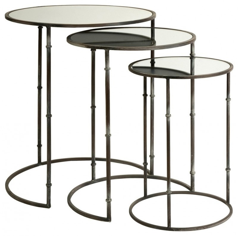 mirrored nesting tables with unique round legs