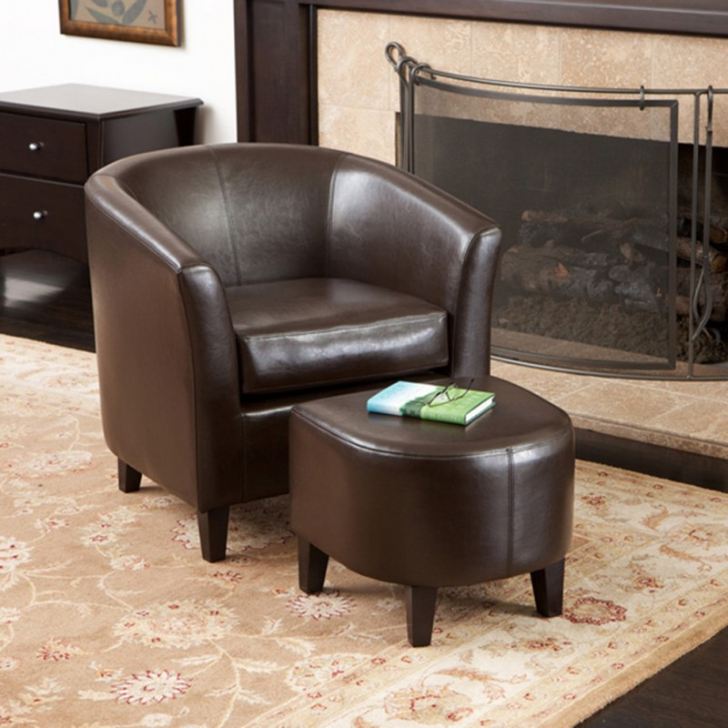 modern brown leather chair brown otoman book glasses small cabinet rug