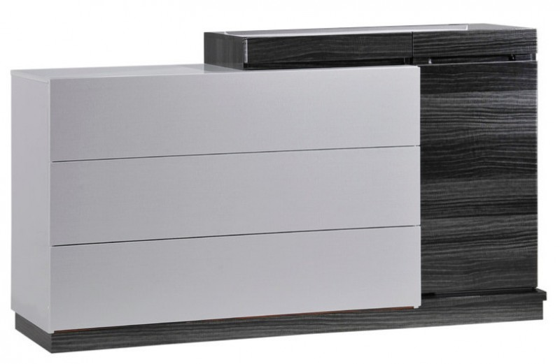modern dark grey and white zebra wood dresser