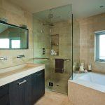 Modern House Interior Bathtub Window Ceiling Lamp Long Sink Modern Faucet Towel Rack Glass Door