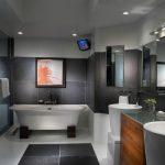 Modern House Interior Glass Door Artistic Painting Modern Lamps Wall Tv Mirror Basin Cabinet Bathtub