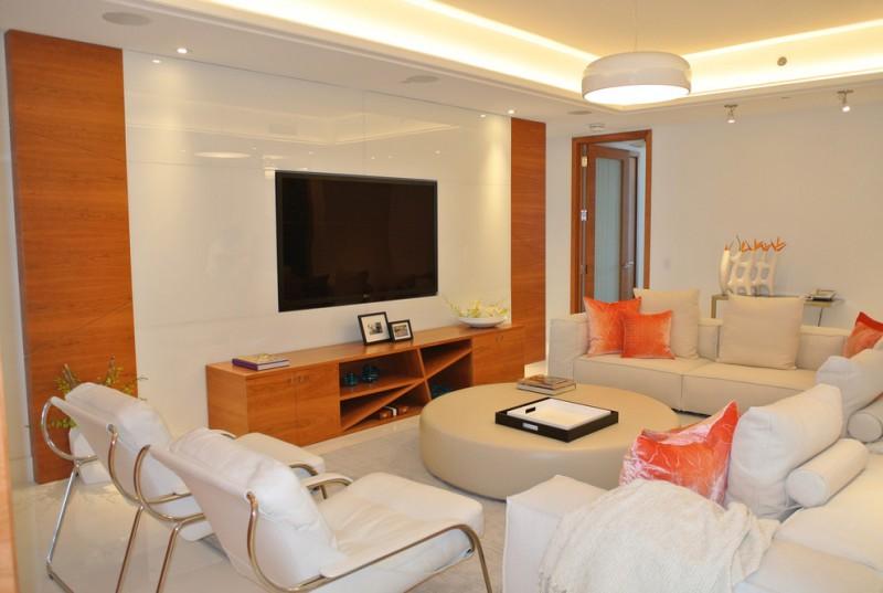 modern house interior modern table sofas pillos hanging lamp wall tv wooden cabinet shelves