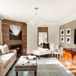 Modern House Interior Sofa Pillow Carpet Big Glass Window Curtain Small Tables Wall Tv Chandelier