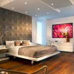 Modern House Interior Wooden Floor Ceiling Lights Modern Chair Modern Lamps Contemporary Bedroom