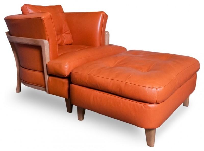 modern orange leather club armchairs ottoman accent chair
