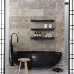 Modern Oval Dark Free Standing Bathtub Floating Customized Shelves Patterned Marble Tiles Of Wall Sliding Doors Simple Elegant Shower
