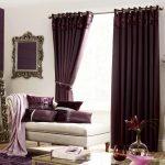 Modern Purple Curtains Purple Bricks Wall Classic Mirrors Broken White Sofa Purple Cushion Vase Flowers Purple Rug Cream Floor Glass Table Classic Drawer