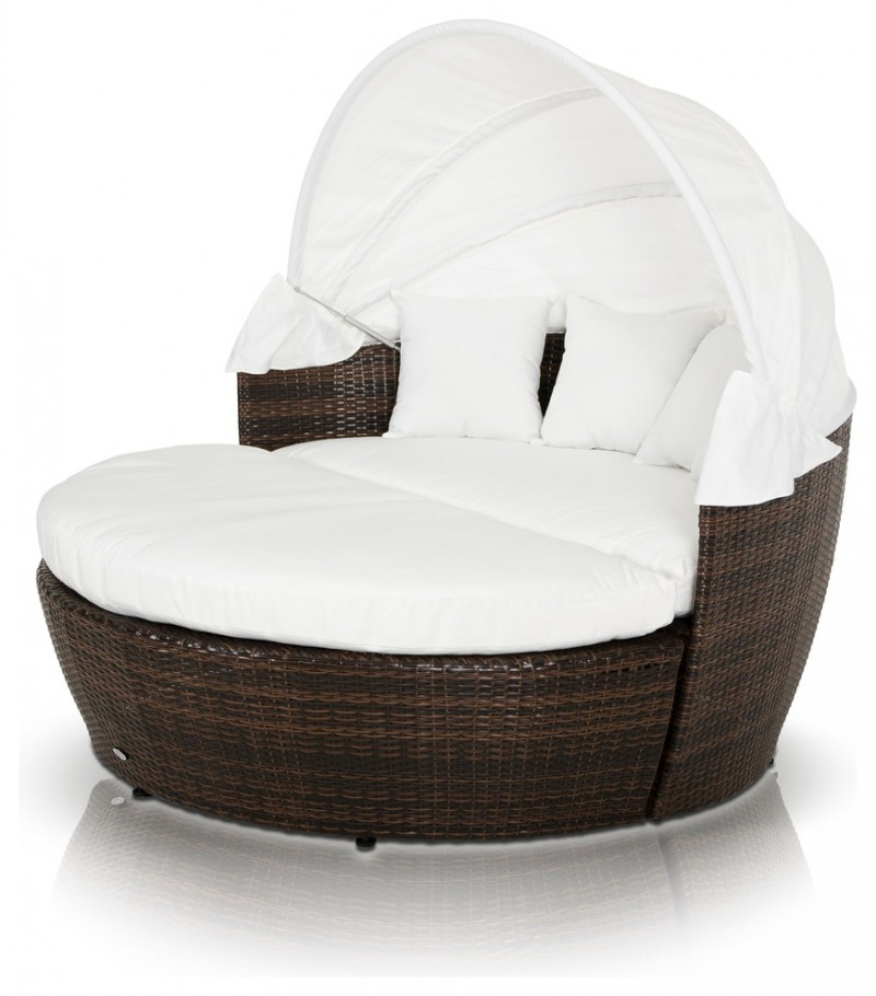 modern rattan chair with white cushion and pillows and retractable sun cover
