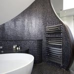 Modern Unique Black Curved Mosaic Marble Wall Free Floating White Bathtub Sparkle Marble Floor Uncut To The Wall Large Black Modern Cabinet Attached By Miror