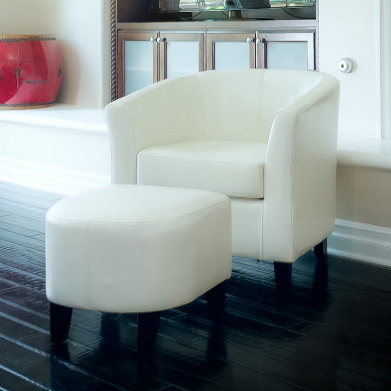 modern white leather club chair and ottoman black floor