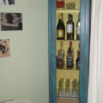 Narrow Blue Wooden Liquor Cabinet