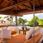 Orange Round Tropical Bed Swing For Porch