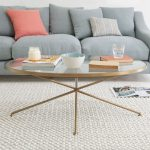 Ovale Coffee Table For Living Room With Soft Blue Loveseat