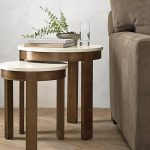Pastis Brown White Small Side Coffee Table
