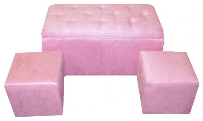 pink storage bench accented with tufted button and with two ottomans