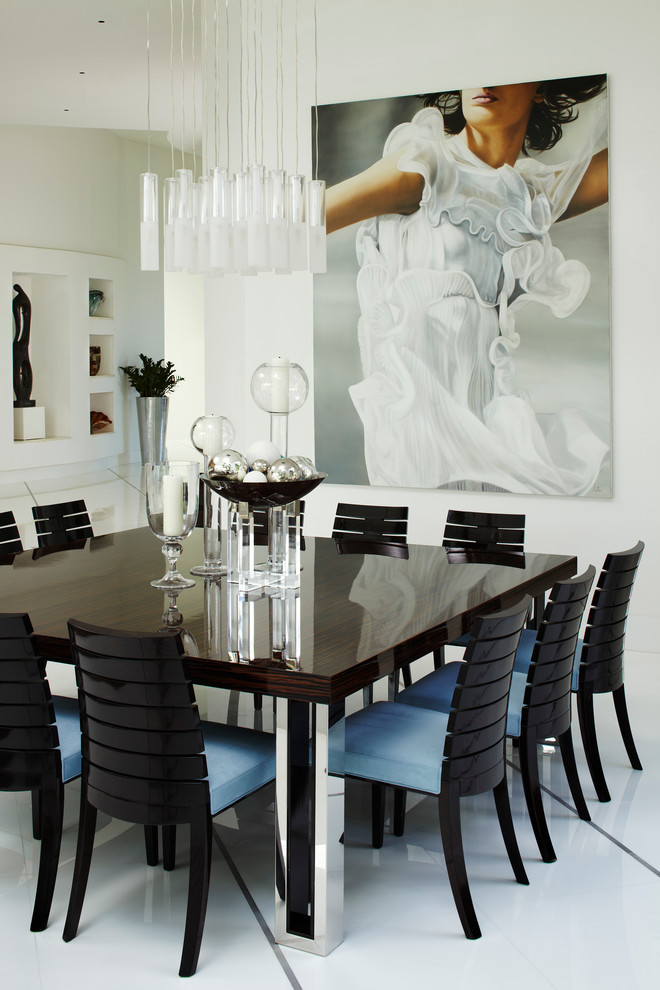 polished zebra wood top table for 12 with aluminium legs