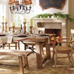Pottery Barn Wooden Kitchen Table Wood Seat Chair Toscana Wood Bench Brown Iron Chandelier