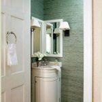 Pretty And Cute Round White Small Corner Cabinet For Bathroom