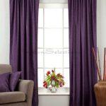 Purple Velvet Curtains White Windows Brown Vase Silver Vase Flowers Wooden Floor Dusty Grey Chair Purple Cushion