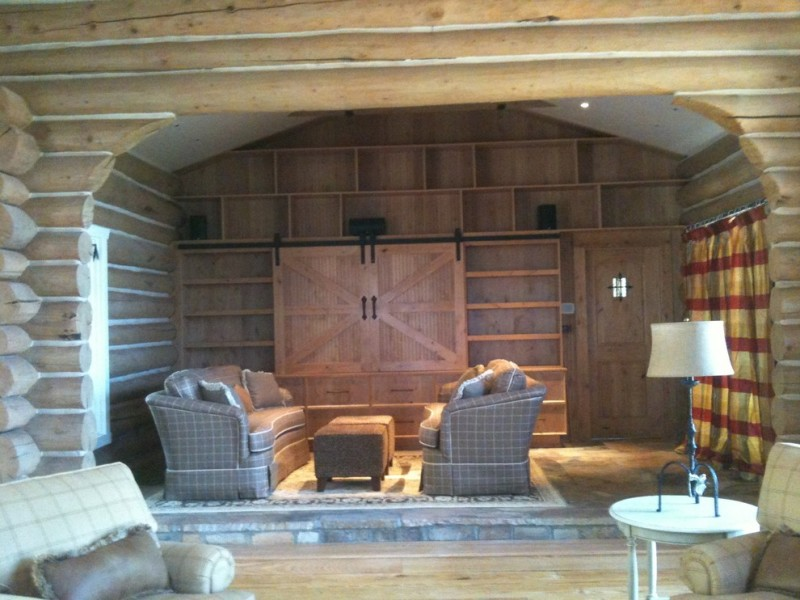 raw brown wooden built in entertainment cabinet