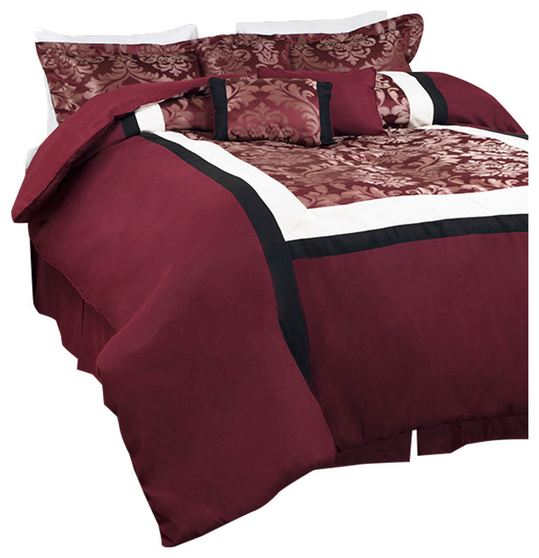 red bedding with golden classic pattern on the pillows and cover