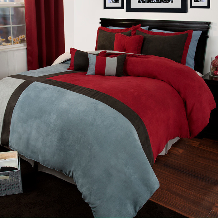 red black grey comforter with pillow cases