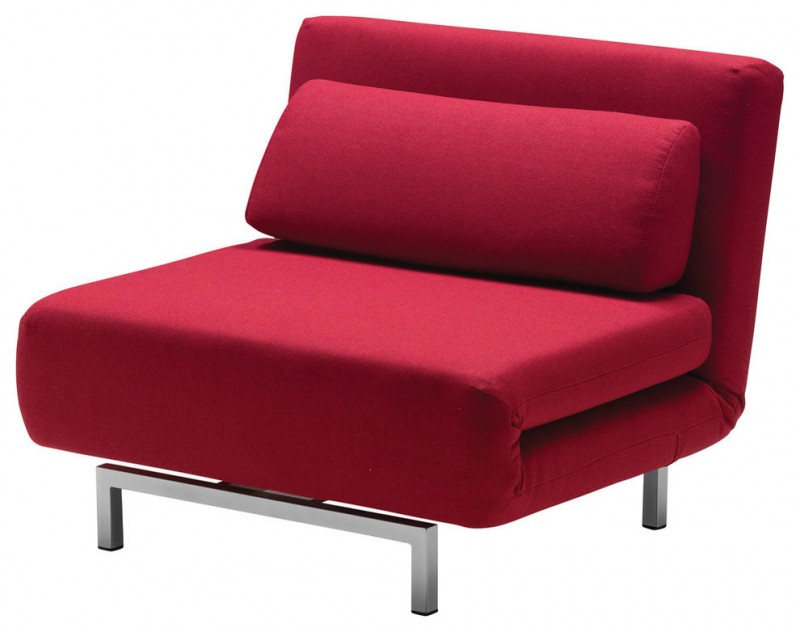 red chair bed with pillow