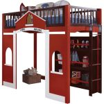 Red Fire Houw Themed Loft Bed With Stairs And Three Book Shelves