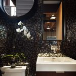 Refreshing Combined Black And White Bathroom Mosaic Marble Wall Mirror Tiled Wall Simple Cabinet With Sink Shimmering Hanging Lightnings
