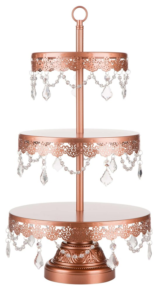 rose gold metal three tier serving stand with dangling crystal glass