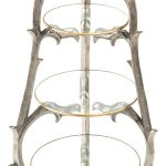 Rose Stems Support Three Tier Stand With Gold Edges Glass Platters