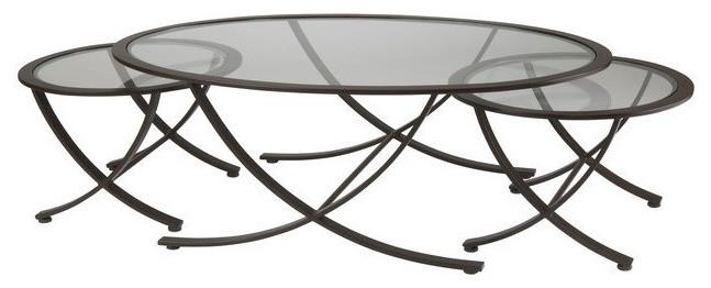 round glass three set nesting tables