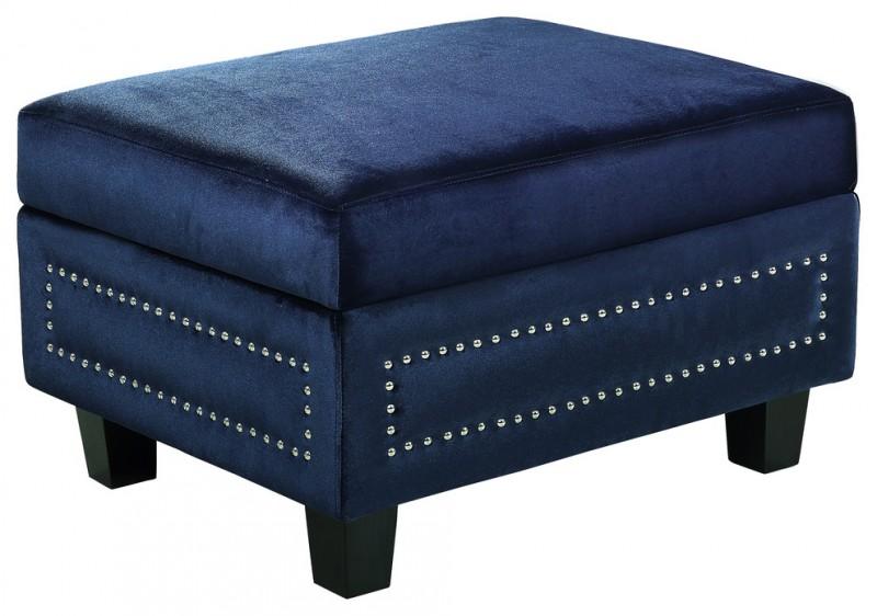 royal blue satin ottoman with storage