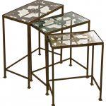 Rustic Modern Iron Framed Three Set Nesting Tables