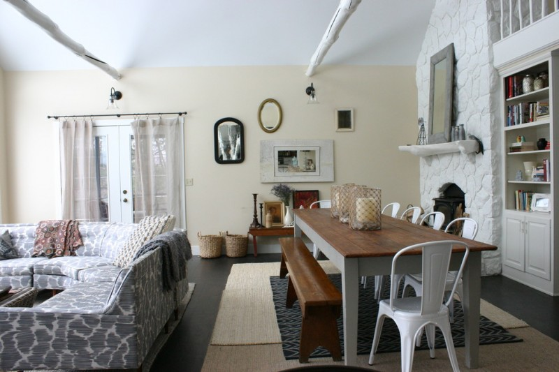shabby chic long dining room with brown top and white legs