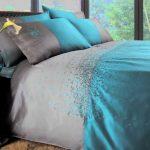 silver grey and aqua blue bedding